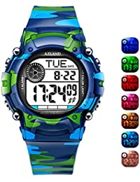 7 Colors Flashing, Multiple Alarms Potty Training Reminder Sports Kids Wristwatch Waterproof Boys Girls Digital Watches Camo, for Age 4-12