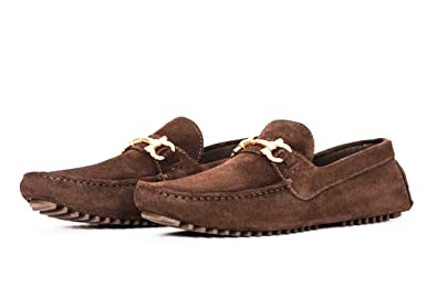 Pair Of Kings Shoes Mens Top Kicker Brown Suede Leather Moccasins Dress Shoes ...