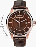 Montegrappa Fortuna Watch, Rose Gold PVD, Brown Dial, Brown Leather Strap
