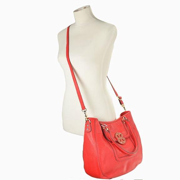 e75a148c7a2 Tory Burch Amanda Double Handle Classic Leather Convertible Hobo Lobster   Handbags  Amazon.com