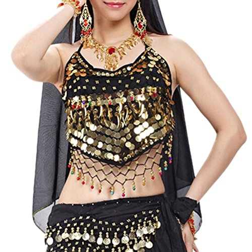 Belly Dancing Costumes Cheap (BellyLady Tribal Belly Dance Halter Banadge Bra Top With Pad, For Christmas BLACK)