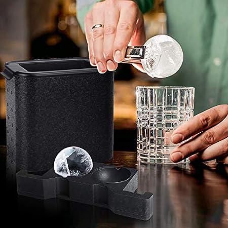BestFire Clear Ice Ball Maker Ice Cube Maker Bandeja de molde de hielo para bolas de hielo cristalinas de 2.35 pulgadas con bolsa de almacenamiento de cubitos de hielo Mejora tu whisky