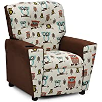 Childrens Upholstered Armchair Recliner, Childs Favorite Gift, Kids Reclining Chair with Cup Holders, We Love Owls Fabric Childrens Seating Furniture, Child Friendly Gender Neutral Decor