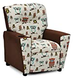 Cheap Childrens Upholstered Armchair Recliner, Child's Favorite Gift, Kids Reclining Chair with Cup Holders, We Love Owls Fabric Children's Seating Furniture, Child Friendly Gender Neutral Decor