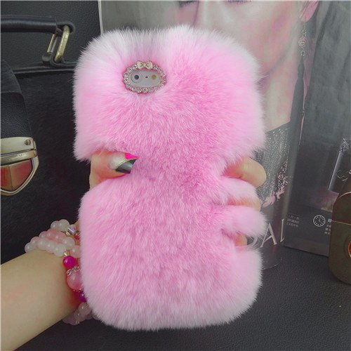 Aikeduo Iphone5s Case Handmade Bling Crystal Rabbit Fur Rhinestone Case Cover for Iphone 5s High Quality Warm Case (Pink) (Iphone5s Case Crystal compare prices)