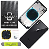 CELL4LESS Back Housing Assembly Metal Frame w/Back Glass - Wireless Charging pad - Sim Card Tray and Camera Frame and Lens for iPhone X (Space Grey)