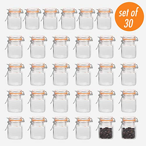 Encheng 4 oz Glass Jars With Airtight Lids And Leak Proof Rubber Gasket,Small Mason Jars With Hinged Lids For Kitchen, Mini Spice Jars With Twine And Tags Labeling 30 Pack]()