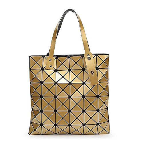 YBE Women Geometric Plaid Bag Folded Madam Casual Tote Top Handle Shoulder Bag Bao (Gold)
