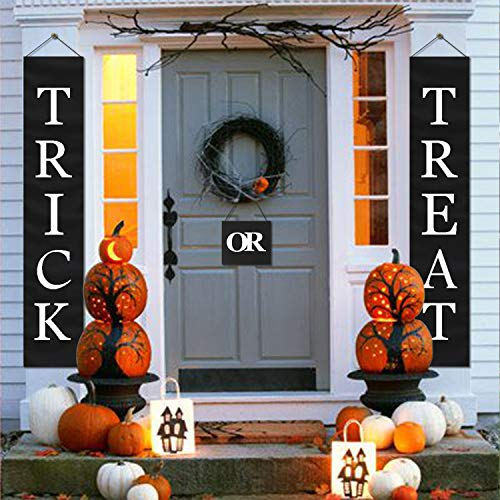 LUTER Halloween Door Decorations Hanger Outdoor Indoor Trick Treat Banner Halloween Party Supplies Halloween Hanging Decor Home Office(3-Pc Set) -
