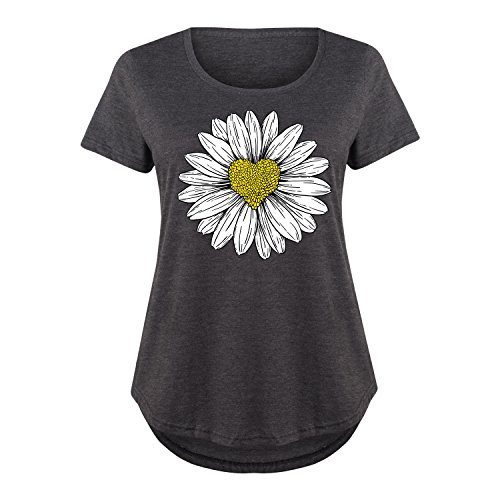 HARPER & QUINN Daisy Heart Drawing - Ladies Plus Size Scoop Neck Tee Ladies Daisy