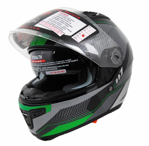 Stealth F117 Full Face Helmet with Graphic (Neon Green, X-Small)