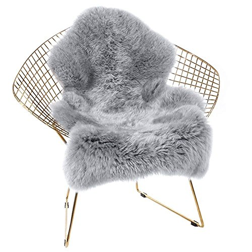 Junovo Super Soft Luxury Fluffy Shaggy Faux Fur Area Rug for Living Room Bedroom Reading Room Study Nursery Couch Sofa Armchair Decor,2ft x 3ft,Grey