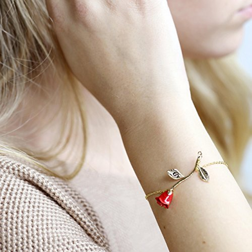 Personalized Rose Bracelet Gifts for Women Initial Bracelet Gifts for Mom Beauty and the Beast Jewelry Rose Gold Bracelet - 3ERBR