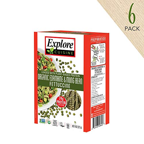 (Explore Cuisine Organic Edamame & Mung Bean Fettuccine (6 Pack) - 8 oz - High Protein, Gluten Free Pasta - USDA Certified Organic, Vegan, Kosher, Non GMO - 24 Total)