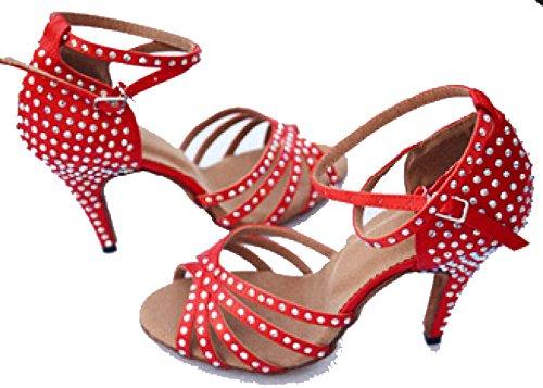 Latino Superiore Colori Ragazza Della 37 Professionista b Shoe altri Donne Scarpe Satin Salsa Sandali Ballroom Delle Dance Med Uq1w85H