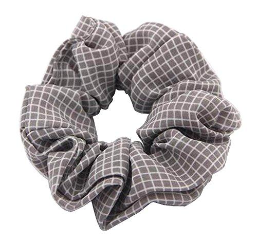 Khaki Lattice - [Khaki Lattice] Elegant Elastics Ponytail Holder Stylish Scrunchie Hair Ties