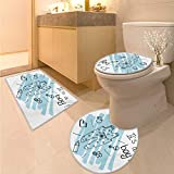 Anhuthree Gender Reveal Bath Rug Set Its Boy Quote Clothes Parenthood Theme Baby Paintbrush Style Illustration 3 Piece Large Contour Mat Set Turquoise