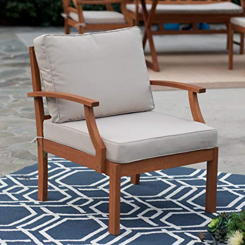 Patio Lounge Chair. Contemporary, Outdoor Furniture of Natural Wood for Fire Pit, Table, Porch, Deck, Lawn, Pool, Garden, Balcony, Conversation, Seating, Chat. Outside, Deep Armchair with Cushions