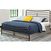 Cosmos Snap Bed with Flowing Curves Panel Design and Folding Metal Side Rails, Coffee Finish, California King