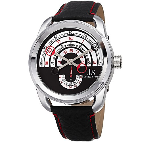 Joshua & Sons Men's Designer Watch – Unique Round Arc Themed Dial - Genuine Double Stitched Black Leather Strap with Red Accents – Round Stainless Steel Case – JX129RD