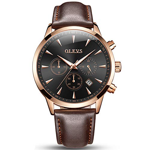 OLEVS Mens Big Face Watches Clearance,Luxury Fashion Casual Dress Chronograph Waterproof Watch,Business Quartz Analog Wrist Watch Brown Leather Band Strap Men Black Face Watch with Calendar Date