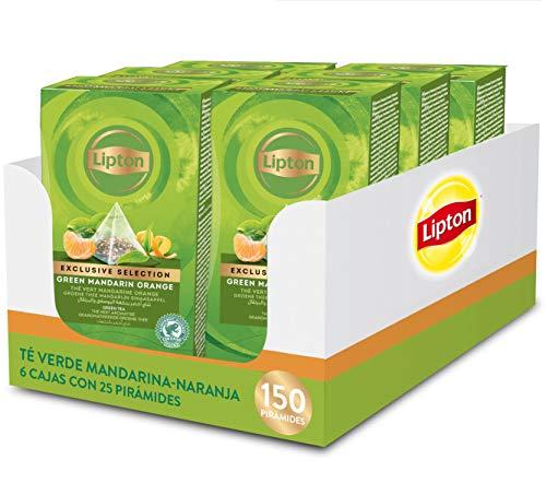 Lipton - Te Verde Mandarina-Naranja, 6 Cajas x 25 Piramides