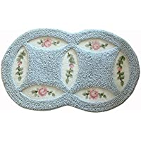 JSJ_CHENG Cute Soft Rose Floral Microfiber Non Skid Area Rugs for Bathroom, Kitchen, Girls Rooms, Doormats Indoor Outdoor 17-inch By 29.5-inch (Blue)