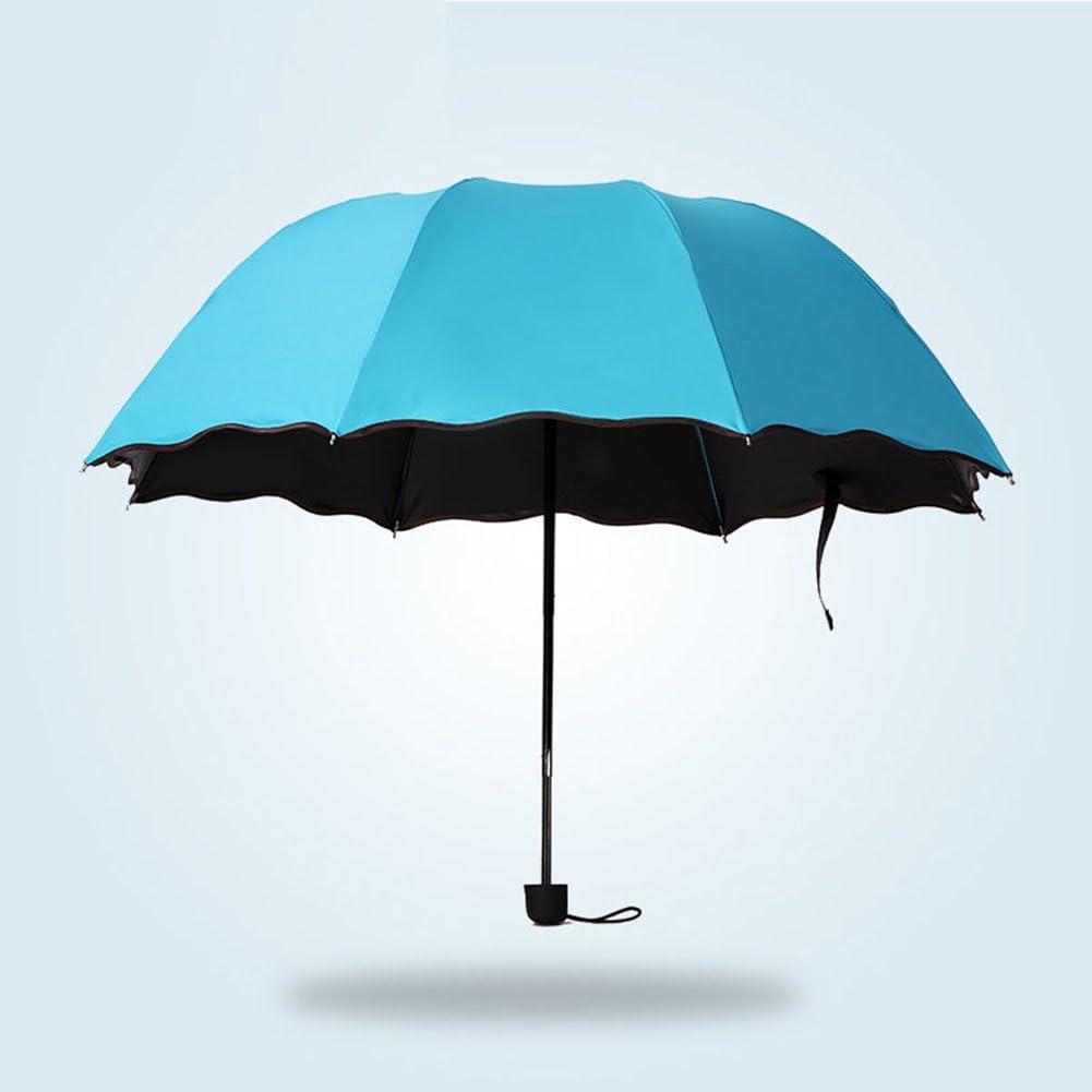 Light Purple 8116643/_Afco Women Girl Anti-UV Parasol Flower 3 Folding Windproof Sun//Rain Umbrella for Raining Snowing