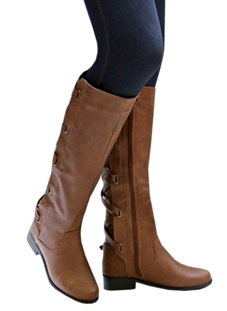 Meilidress Women Boots Winter Tall Riding Leather Strappy Flat B076ZNZQJ1 7.5 B(M)US|Brown