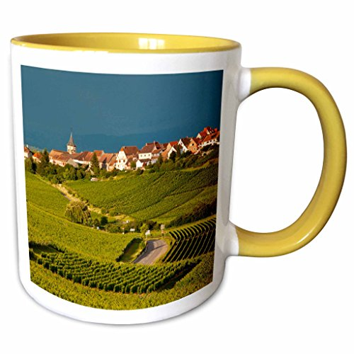 3dRose Danita Delimont - Vineyards - Vineyards, Grand Cru, Zellenberg, Haut-Rhin France - EU09 BJN0486 - Brian Jannsen - 11oz Two-Tone Yellow Mug (mug_136211_8) Alsace Grand Cru Vineyards