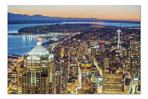 Seattle, Washington - View of Downtown Skyline at Night with City Lights & Traffic A-9006953 (20x30 Premium 1000 Piece Jigsaw Puzzle, Made in USA!)