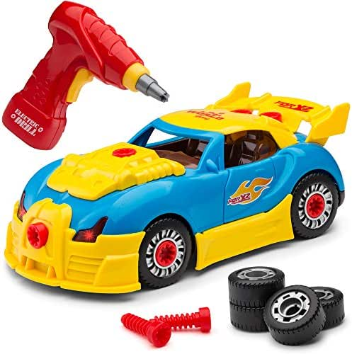 Self-Assemble 30-Piece Racing Kids Car Toy, Sounds Lights - Includes Mini Power Drill and Screws by Toydaloo