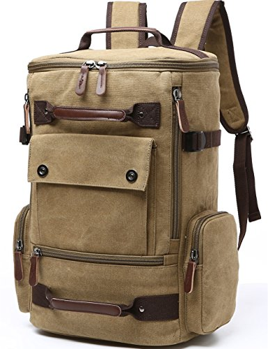 Canvas Khakis - Canvas Backpack, Aidonger Vintage Canvas School Backpack Hiking Travel Rucksack Fits 15'' Laptop (Khaki)