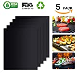 100% Non-stick BBQ Grill Mat (Set of 5): FDA-Approved, PFOA Free, Reusable, Easy to Clean & Wash: Grill Mats Work on Gas, Charcoal, Electric Grill and Home Baking More (by Unicorns.Idea)