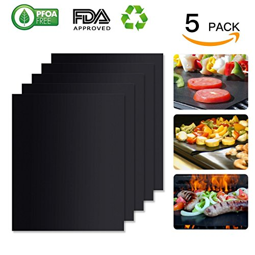 100% Non-stick BBQ Grill Mat (Set of 5): FDA-Approved, PFOA Free, Reusable, Easy to Clean & Wash: Grill Mats Work on Gas, Charcoal, Electric Grill and Home Baking More (by Unicorns.Idea) by Unicorn's Idea