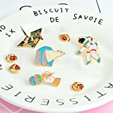 4pcs/Set Ice Cream Polar Bear Astronaut Crane Brooch Button Pins Denim Jacket Pin Badge Cartoon Fashion Jewelry