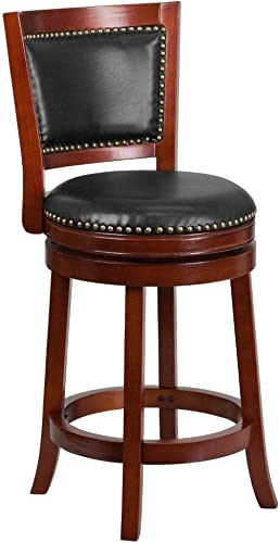 Flash Furniture 26 High Dark Cherry Wood Counter Height Stool with Open Panel Back and Walnut LeatherSoft Swivel Seat