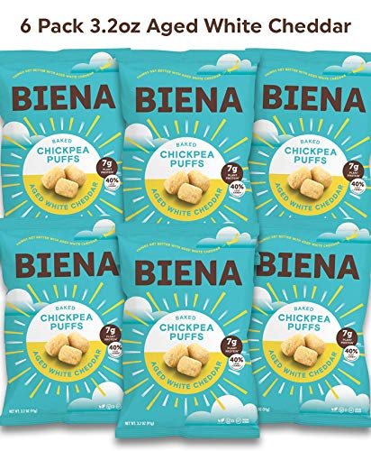 Baked Chickpea Puffs, Aged White Cheddar, 3.2oz, Protein Snacks, Low Carb, Crunchy, Vegetarian, Gluten Free, 6 Count