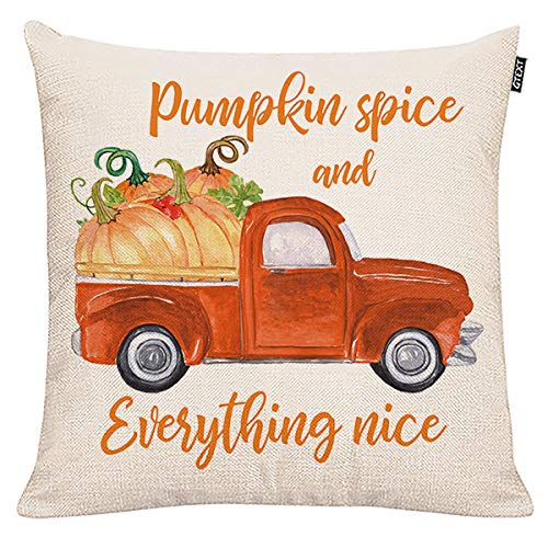 Fall Decor Pumpkin Spice and Everything Nice Throw Pillow Cover Autumn Red Truck with Pumpkins Pillow Cuhion Cover Case for Couch Sofa Home Decoration Fall Pillows Linen 18 X 18 Inches (Pillows Nice Throw)