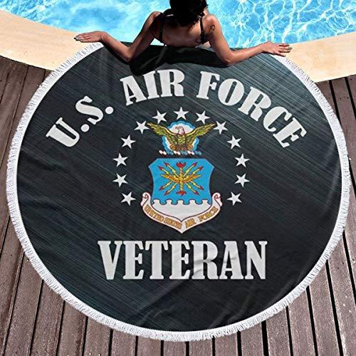 - Trikahan Beach Towel US Air Force Veteran USAF Towels with Tassel Microfiber Oversized Round Picnic Mat Tapestry Table Cover Blanket