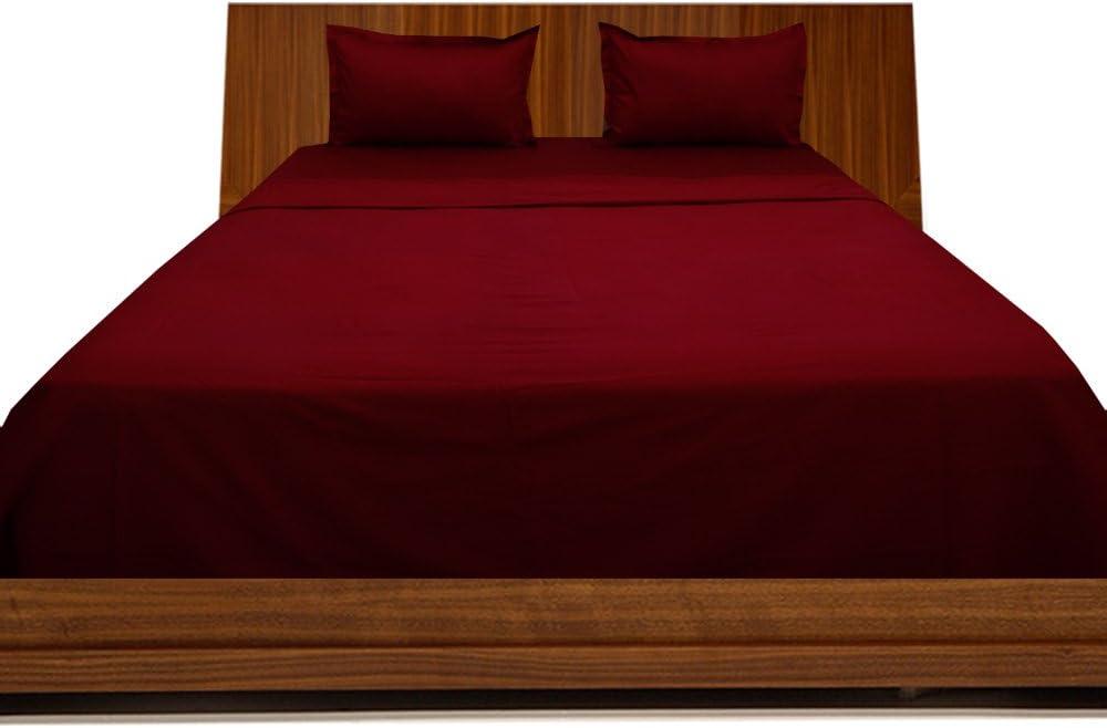 BudgetLinen 4PCs Juego de sábanas(Burdeos, Extragrande 150 x 200 ...