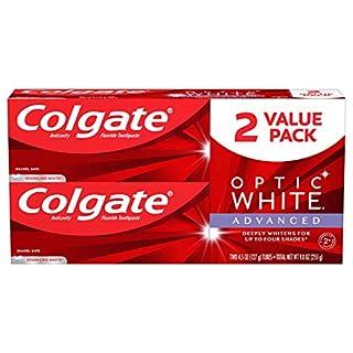 Colgate Optic White Advanced Teeth Whitening Toothpaste, Sparkling White, (2 Count of 4.5 oz Tubes) 9 oz