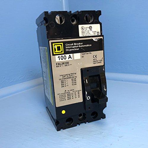 - Square D FAL26100 100A Circuit Breaker 2 Pole 480/600V Type FAL-26100 100 Amp