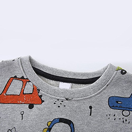 NWAD Boys Car Sweatshirts Light Weight Little Boy Clothes Organic Cotton Crewneck Clothing Long Sleeve Tops (Car Grey, M(5)) by NWAD (Image #5)
