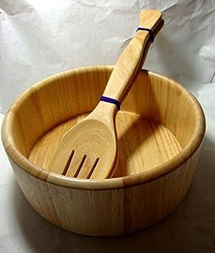Big cuenco para ensalada Plam madera Tailandia Handcraft: Amazon.es: Hogar