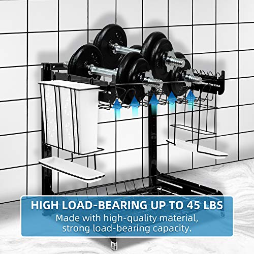 Dish Drying Rack, YIIMER Stainless Steel 2-Tier Dish Rack with Drainboard Set, Height-adjustable Dish Drainer with Utensil Holder, Knife Holder and Cup Holder for Kitchen Counter Top Black