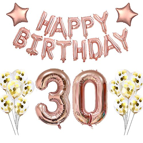 40 Inch 30 Rose Gold Foil balloons for 30th Birthday Party Decorations Supplies , Rose Gold Hang Happy Birthday Alphabet Balloons Banner, Number 30 Balloons ,Gold Confetti Balloons. (30 rose gold)