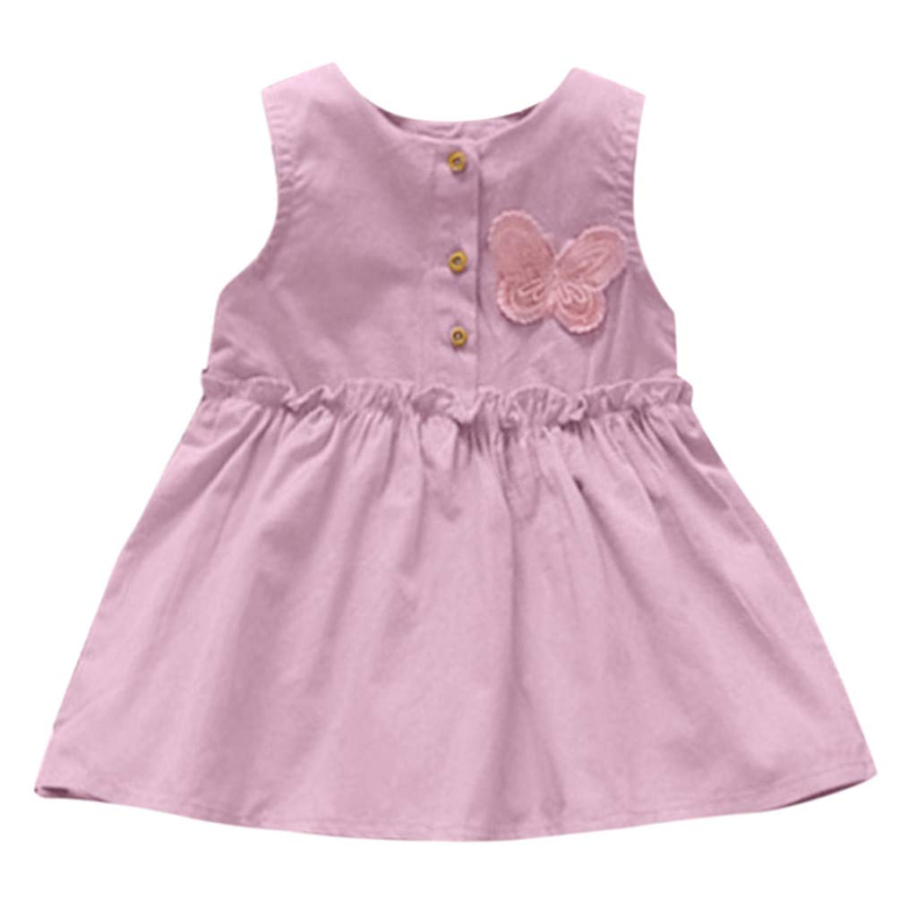 Summer Skirt for Kids Baby Girls Ruffle Sleeveless Butterfly Printed Princess Sundress (Age: 12-18 Months, Pink)