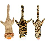 FANXIAOKJ Dog Chew Toys - 3 PCS No Stuffing Squeaky Plush Dog Toy - Tiger, Leopard and Lion, for Small Medium Large Dog Pets.