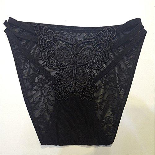 CHARMW Señora sexy bragas tanga mujer transparente señuelo cintura baja encaje fino t-Pants negro